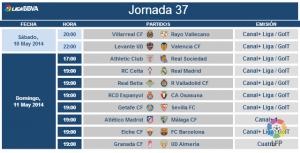 Horarios y árbitros de la jornada 37 de Liga BBVA