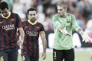"""Xavi: """"Valdés me dijo que tenía que colocarme en la barrera, no pasa nada"""""""