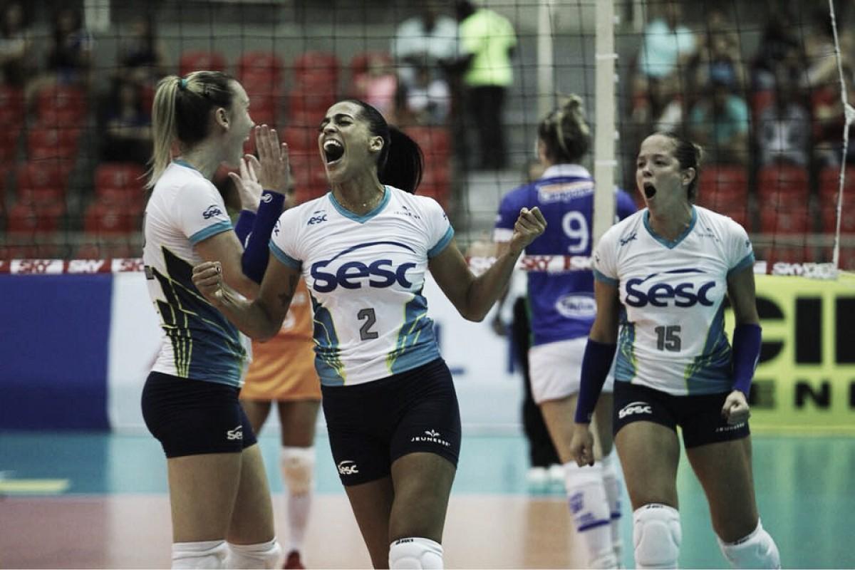 Arrasador, Sesc-RJ se impõe e vence Camponesa/Minas pela semifinal da Superliga Feminina