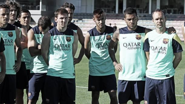 Primer entrenamiento como culé de Neymar