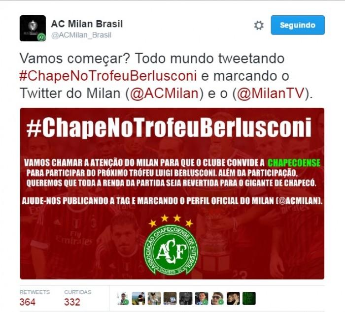 Torcida do Milan no Brasil mobiliza campanha para clube disputar torneio com a Chapecoense