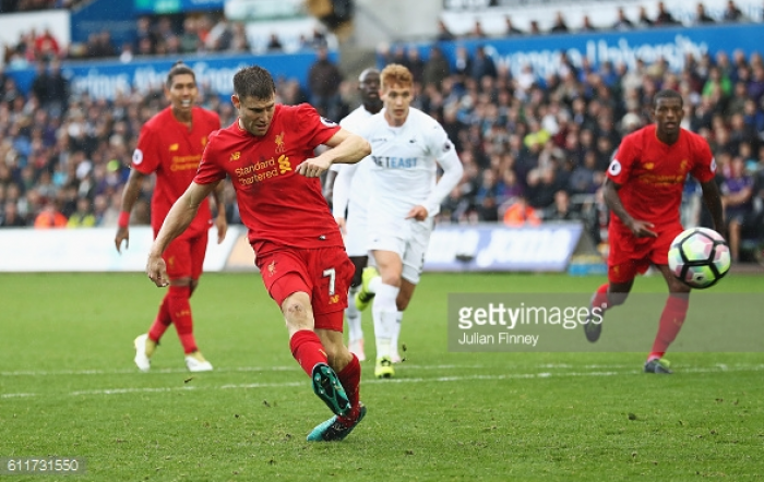 Swansea City 1-2 Liverpool: Milner completes comeback as Reds go second