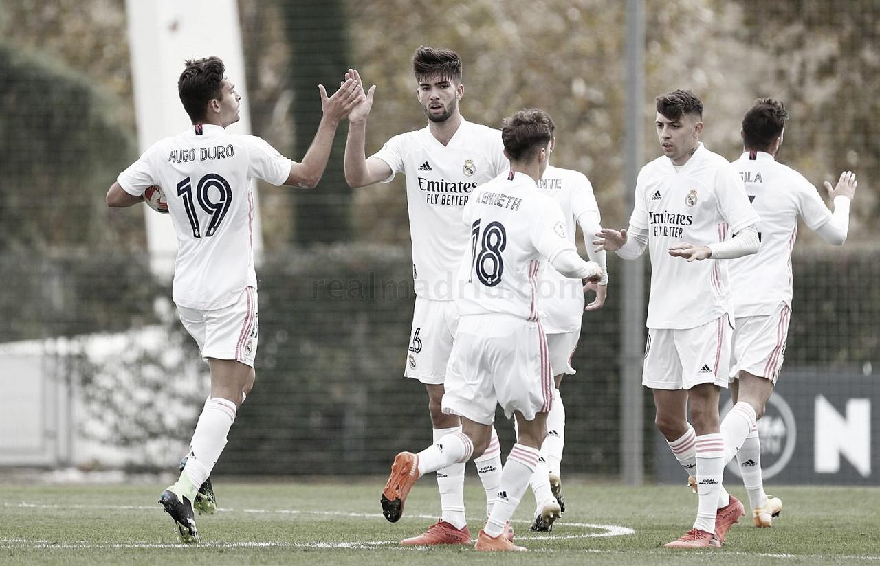 Hugo Duro, Théo Zidane, Kenneth Soler y César Gelabert celebran el empate (1-1), pese a la derrota final (1-2) | Fuente: www.realmadrid.com