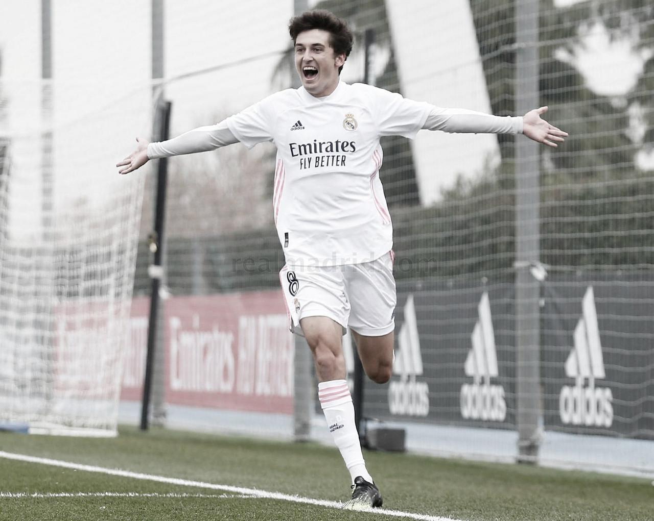 Carlos Dotor celebra su gol ante el CD Atlético Baleares | Fuente: www.realmadrid.com