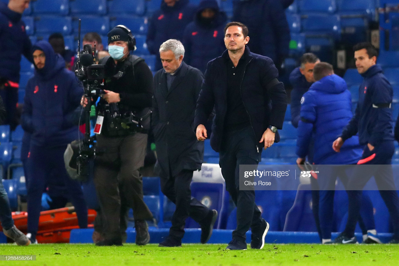 LONDON, ENGLAND - NOVEMBER 29: Frank Lampard, Manager of Chelsea and Jose Mourinho, Manager of Tottenham Hotspur during the Premier League match between Chelsea and Tottenham Hotspur at Stamford Bridge on November 29, 2020 in London, England. Sporting stadiums around the UK remain under strict restrictions due to the Coronavirus Pandemic as Government social distancing laws prohibit fans inside venues resulting in games being played behind closed doors. (Photo by Clive Rose/Getty Images)