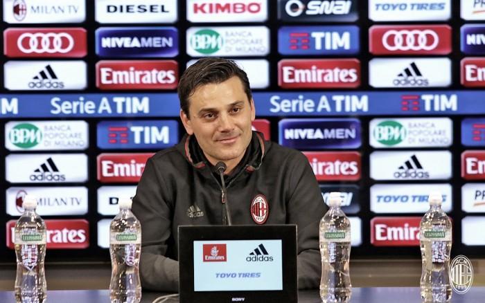 """Milan, Montella in conferenza stampa: """"Abbiamo assorbito la sconfitta; Pasalic lo comprerei""""."""