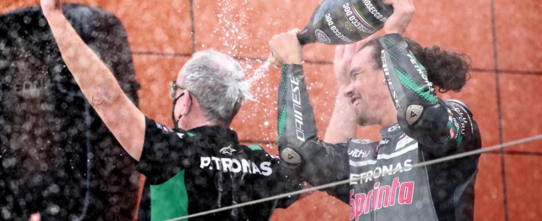 Morbidelli en el podio del GP de Teruel | Foto: Twitter de Moto GP Oficial