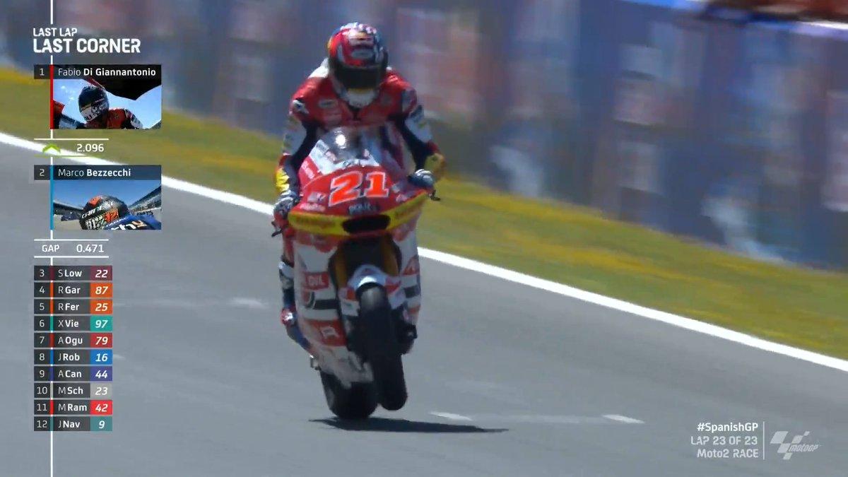 Gp Spagna: E' doppietta italiana in Moto2. Vince DiGiannantonio e secondo Bezzecchi