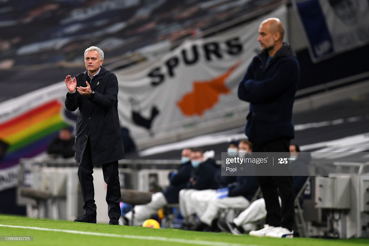 LONDON, ENGLAND - NOVEMBER 21: Jose Mourinho, Manager of Tottenham Hotspur gives his team instructions during the Premier League match between Tottenham Hotspur and Manchester City at Tottenham Hotspur Stadium on November 21, 2020 in London, England. Sporting stadiums around the UK remain under strict restrictions due to the Coronavirus Pandemic as Government social distancing laws prohibit fans inside venues resulting in games being played behind closed doors. (Photo Neil Hall - by Pool/Getty Images)
