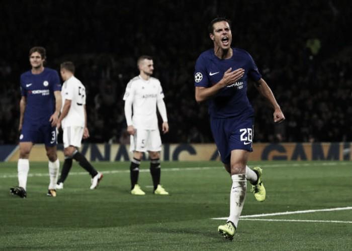 Chelsea arrasa estreante Qarabag e vai com moral para clássico contra o Arsenal
