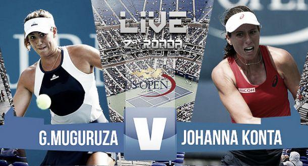 Resultado del Garbiñe Muguruza vs Johanna Konta en US Open 2015 (1-2)