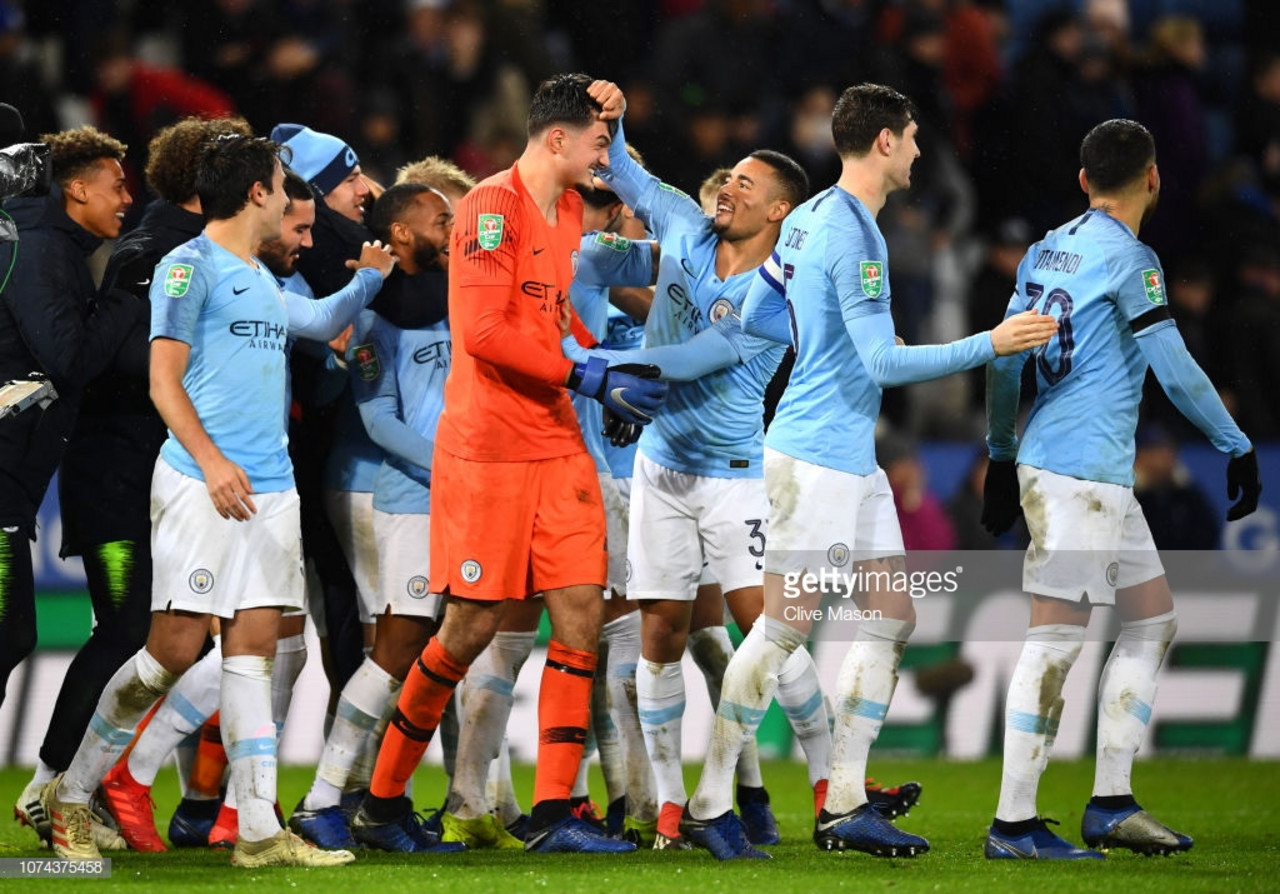 Leicester City 1(1) - (3)1 Manchester City: Vastly changed City through to semi-final following penalty shootout victory