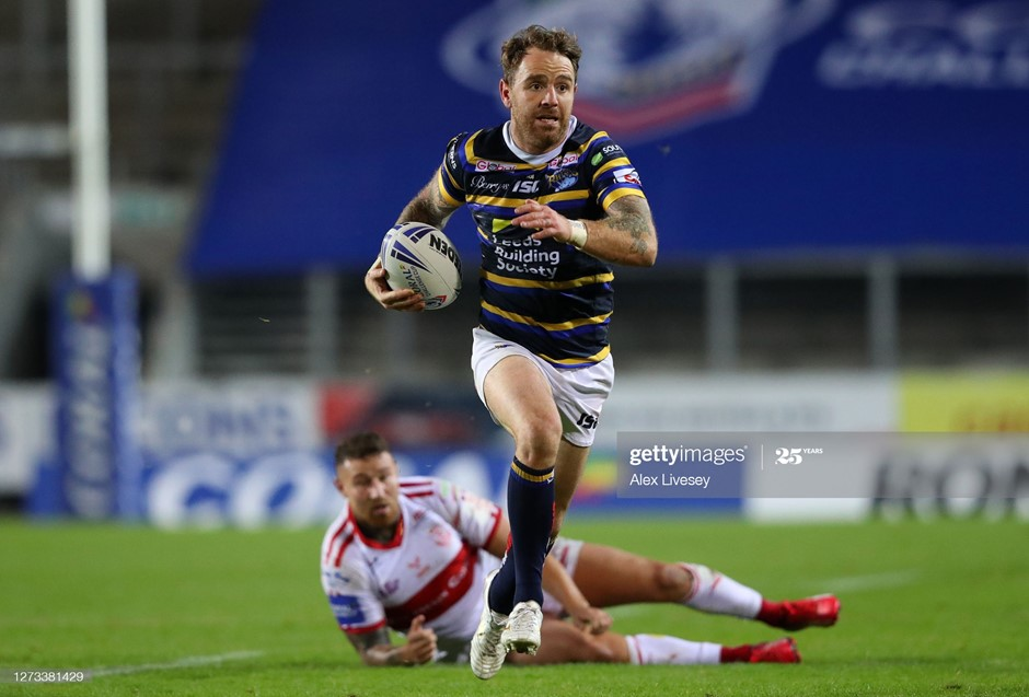 Richie Myler runs clear for a Leeds Rhinos try in their convincing win over Hull Kingston Rovers. Photo: Alex Livesey/Getty Images.