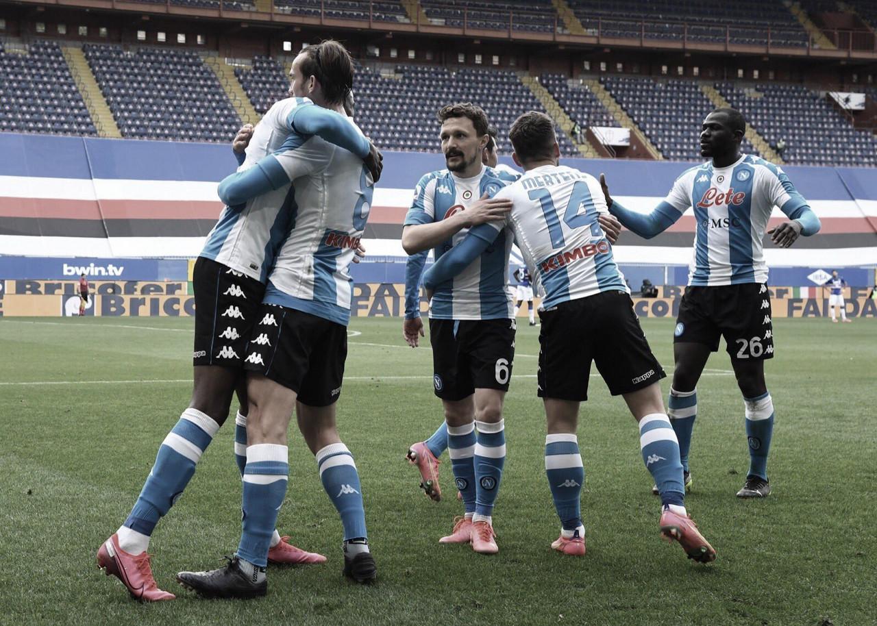 Napoli vence Sampdoria e ganha vaga provisória no G-4 da Serie A