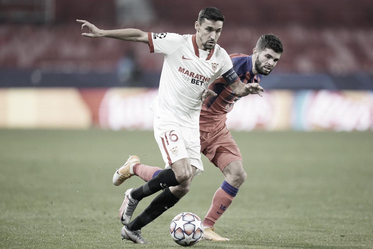 Navas y Pulisic luchando por la pelota. Foto de Twitter: @SevillaFC