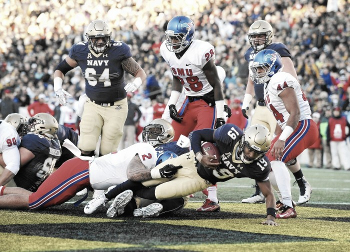 Score Navy Midshipmen vs SMU Mustangs of 2016 NCAA Football (75-31)