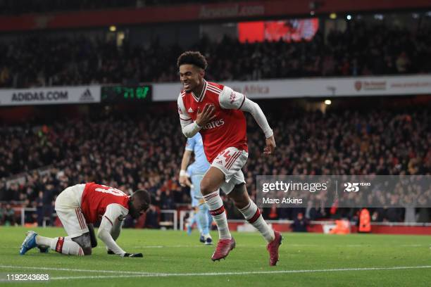 Arsenal's Reiss Nelson celebrates the decisive goal when the sides last met in the 3rd round of the FA Cup last season, one of Mikel Arteta's first games as Arsenal manager.
