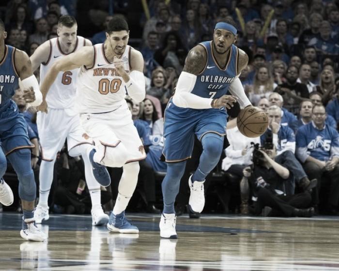 Com show de novo Big Three, Thunder bate Knicks na abertura da temporada