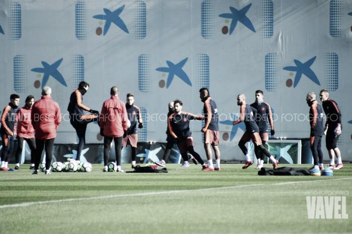 Sesión de recuperación tras el empate ante el Getafe