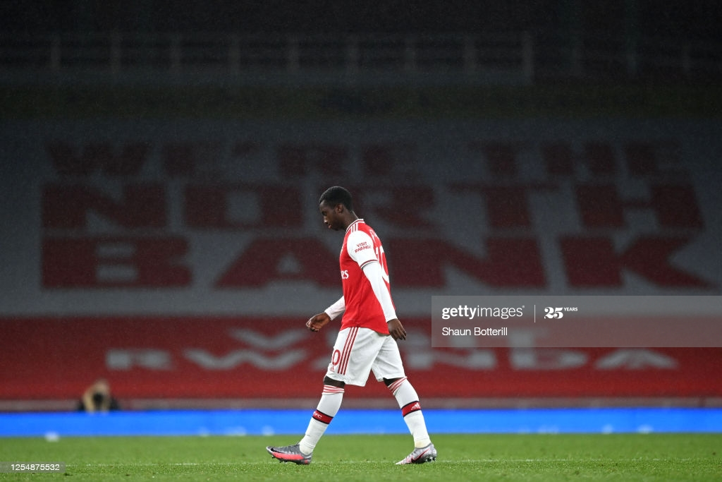 Eddie Nketiah of Arsenal leaves the Emirates Stadium pitch as he is shown a straight red card in the sides 1-1 draw with Leicester City in July of last season.