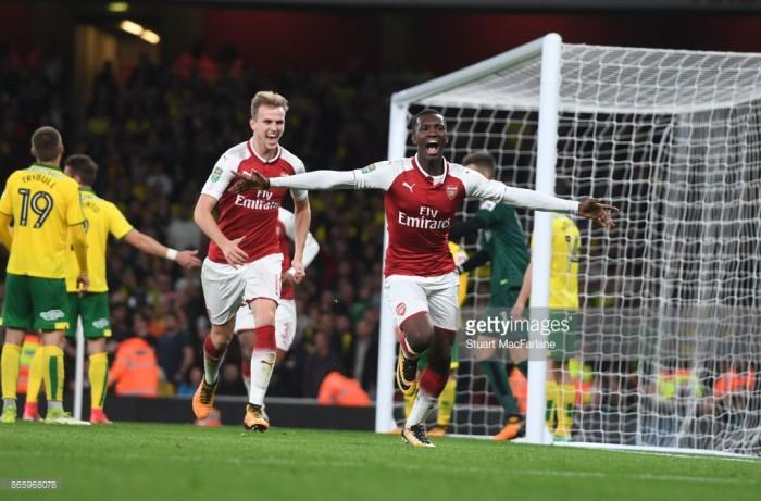 Arsenal forward Eddie Nketiah expresses delight at scoring twice on home debut