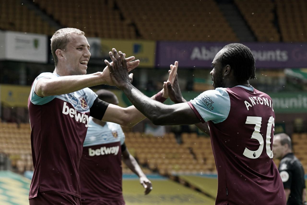 Com quatro gols de Antonio, West Ham goleia e rebaixa Norwich na Premier League
