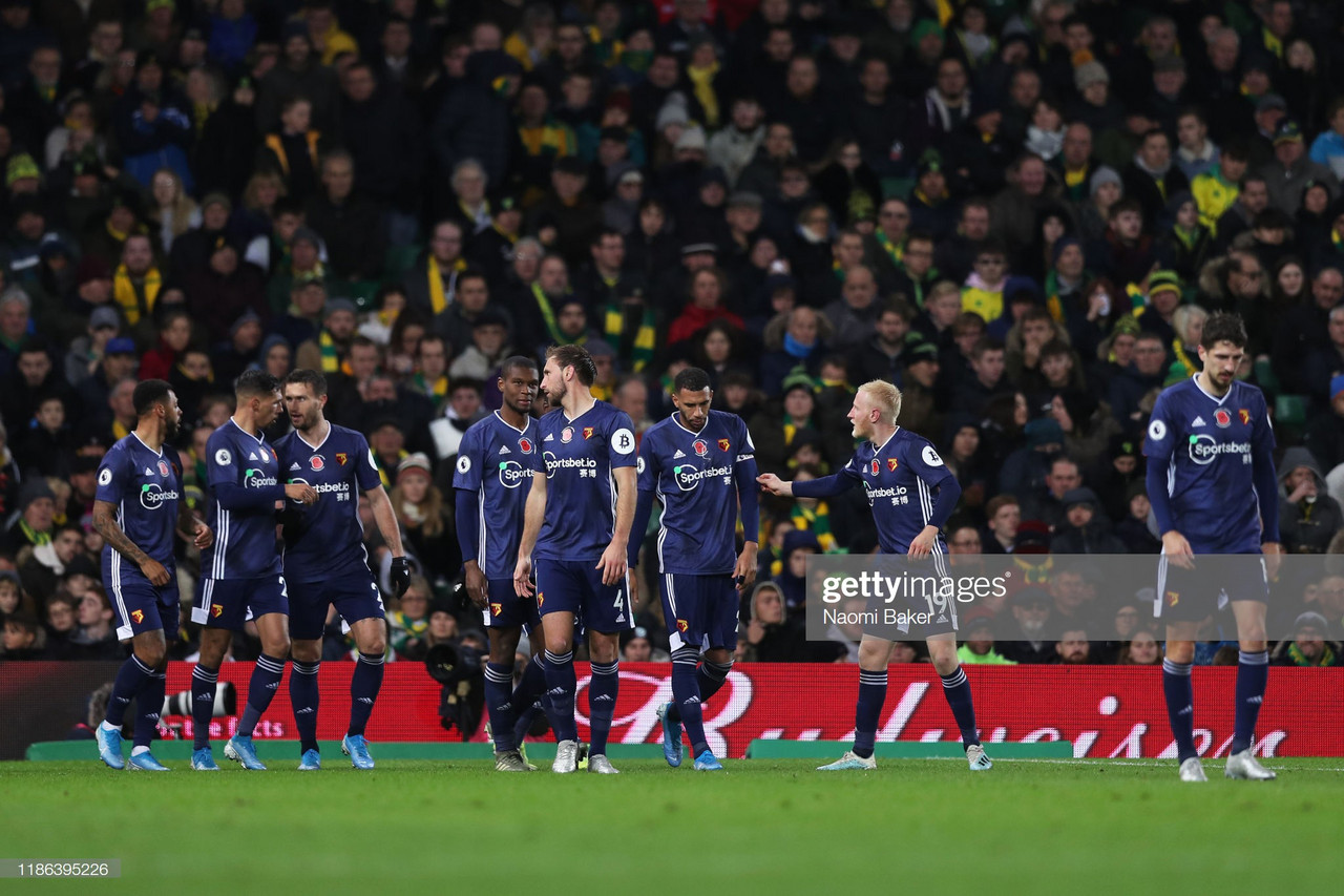 Norwich City 0-2 Watford: Ten-man Hornets secure first victory of the season