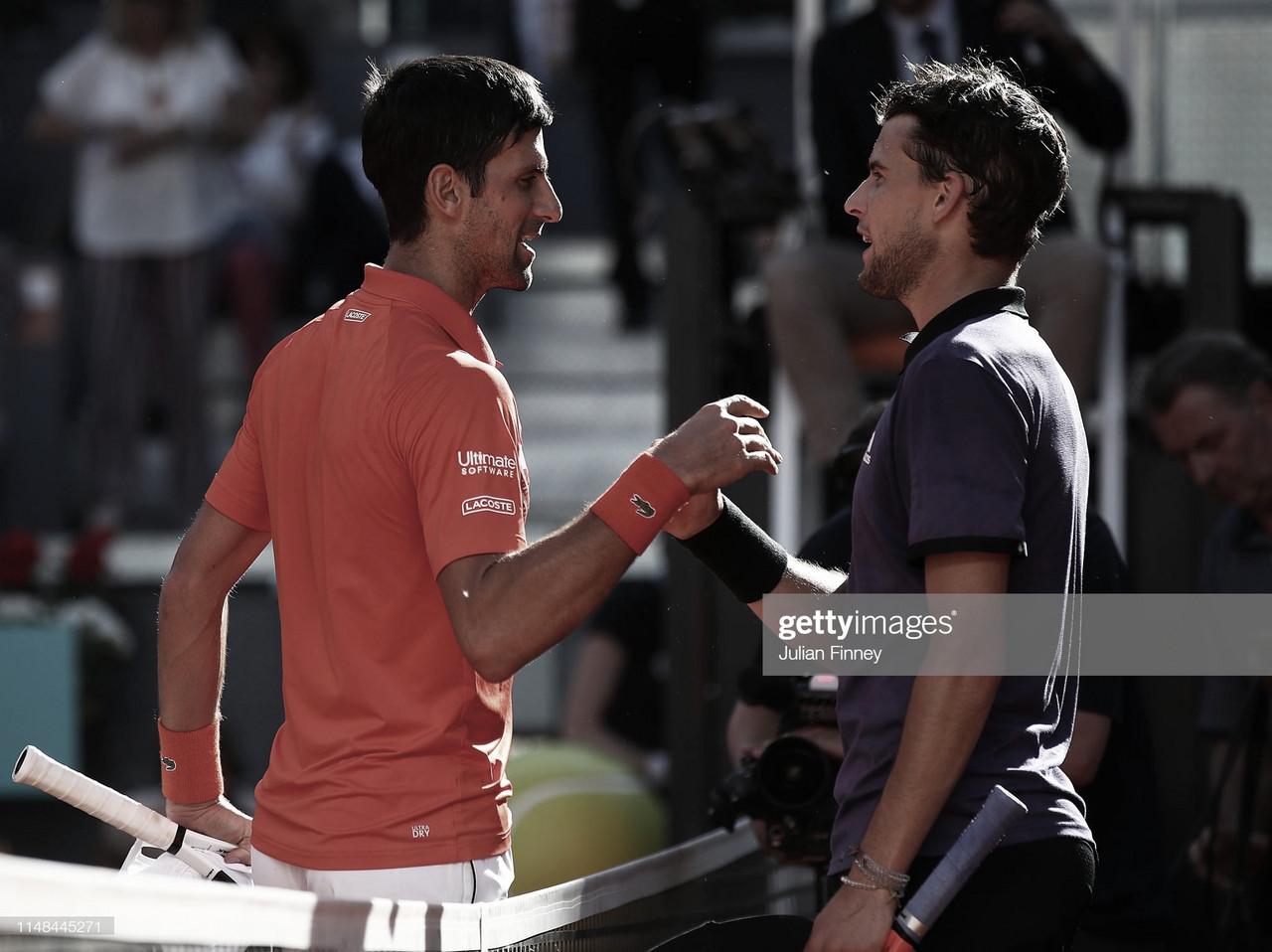 "Dominic Thiem: ""Djokovic está acercándose a su mejor nivel"""