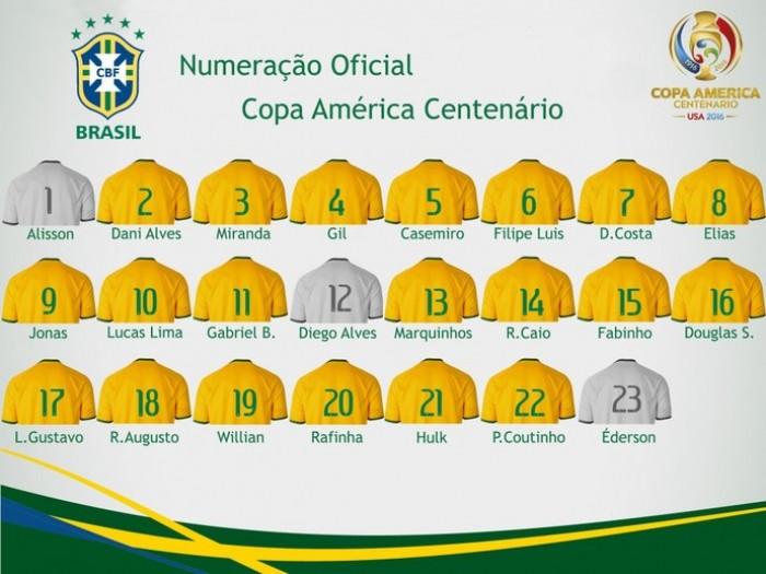 Brasil divulga numeração para Copa América Centenário; sem Neymar, Lucas Lima será o camisa 10
