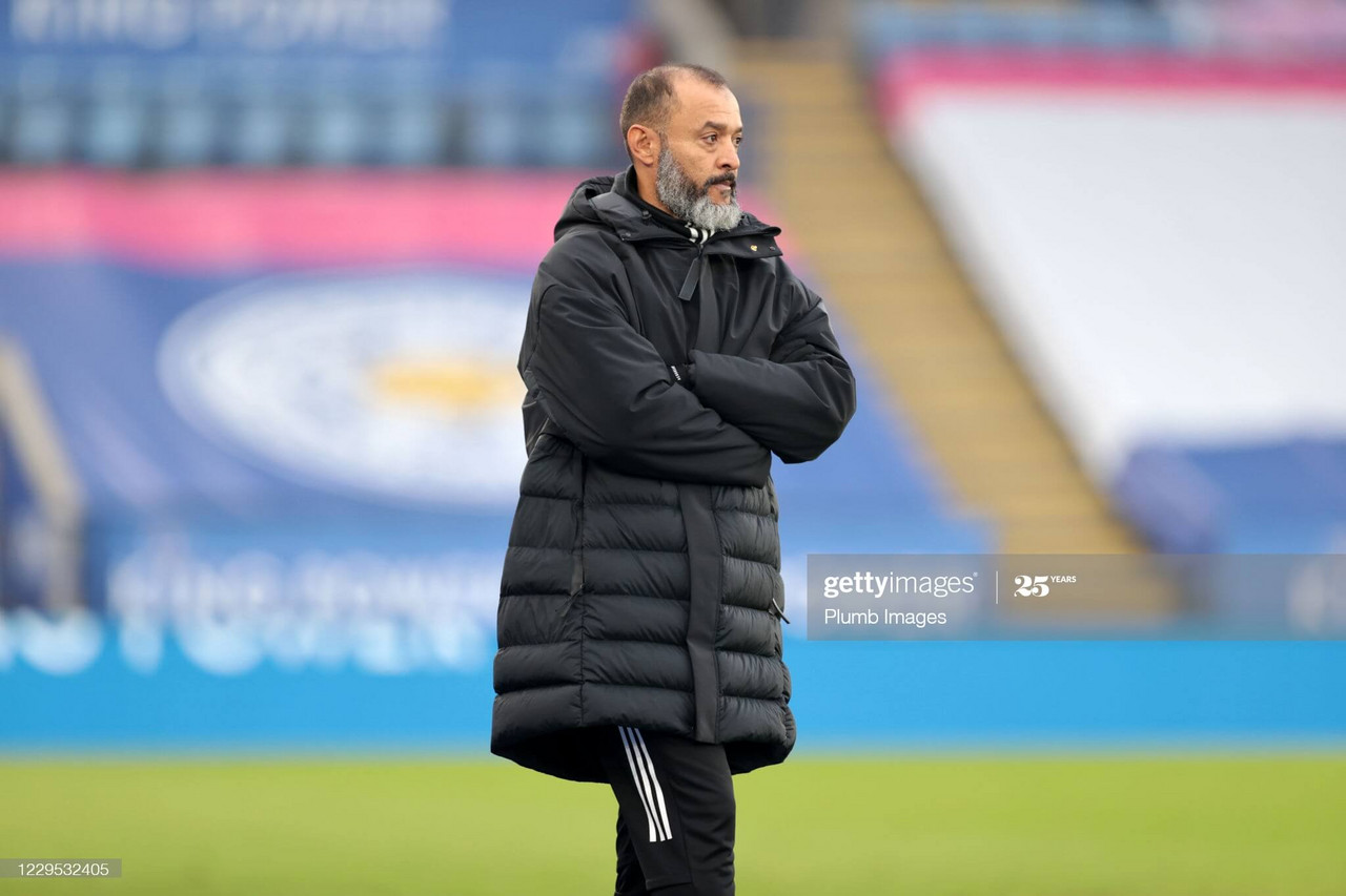 Nuno Espirito Santo during Wolves 1-0 loss to Leicester City the 8th November 2020 (Photo by Plumb Images/Leicester City FC via Getty Images).