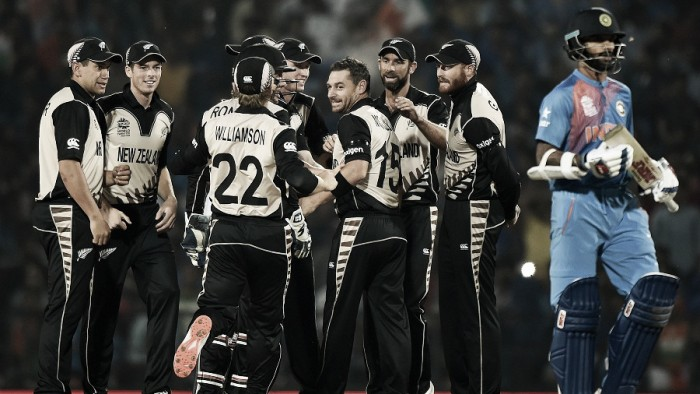 World T20: New Zealand spinners knock over vaunted Indian batting line-up for 79 to win Super 10 opener by 47-runs