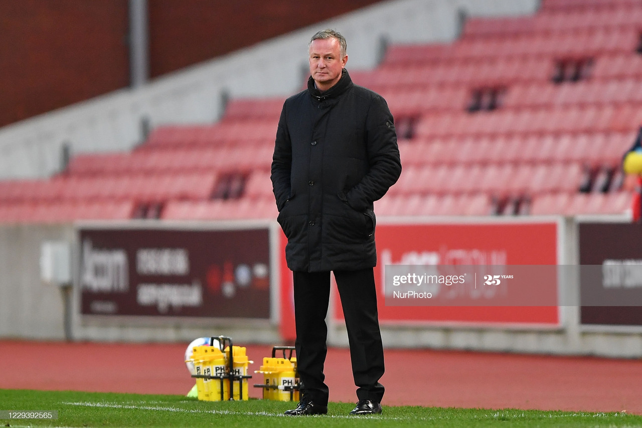Michael O'Neill, manager of Stoke City looks on during the Sky Bet Championship match between Stoke City and Rotherham United at the Britannia Stadium, Stoke-on-Trent on Saturday 31st October 2020. (Photo by Jon Hobley/MI News/NurPhoto via Getty Images)