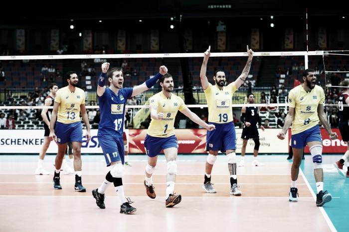 Em batalha de cinco sets, Brasil bate EUA e se aproxima de título da Copa dos Campeões de Vôlei