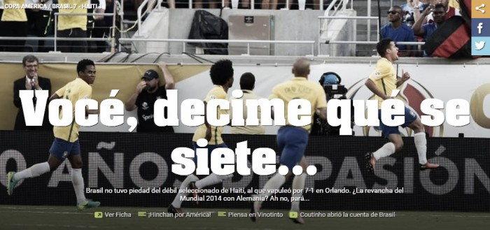 Diário Olé provoca Seleção Brasileira após nova goleada por 7 a 1