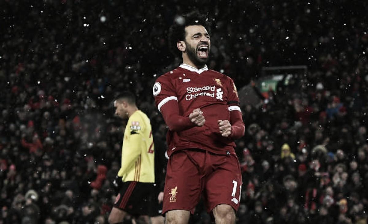 Em noite de Salah, Liverpool goleia Watford com tranquilidade e se aproxima do United