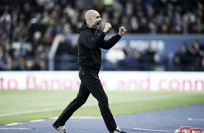Guardiola comemora mais uma vitória no Manchester City e lamenta desfalque de Stones