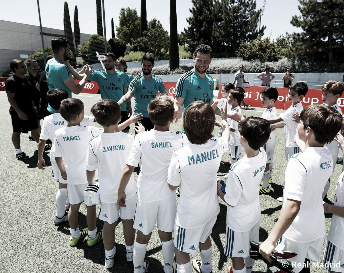Jugadores del Real Madrid en el clinic de Audi