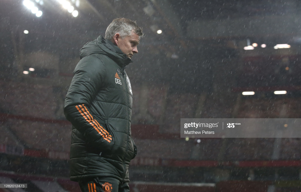 <div>MANCHESTER, ENGLAND - OCTOBER 24: Manager Ole Gunnar Solskjaer of Manchester United walks out for the second half during the Premier League match between Manchester United and Chelsea at Old Trafford on October 24, 2020 in Manchester, England.&nbsp; (Photo by Matthew Peters/Manchester United via Getty Images)</div>