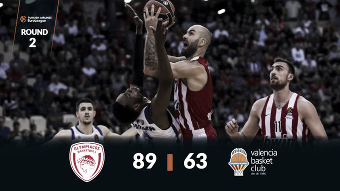 El Olympiakos destroza al Valencia en el Pireo (89-63)