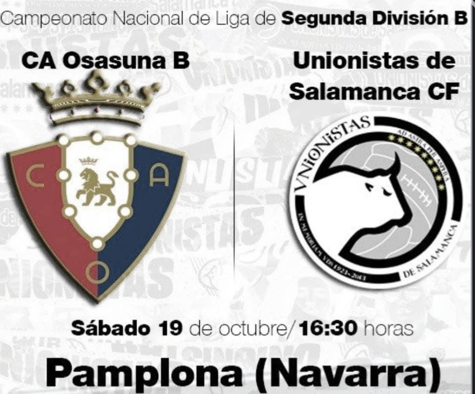 Unionistas visitará Pamplona el sábado 19 a las 16:30 horas