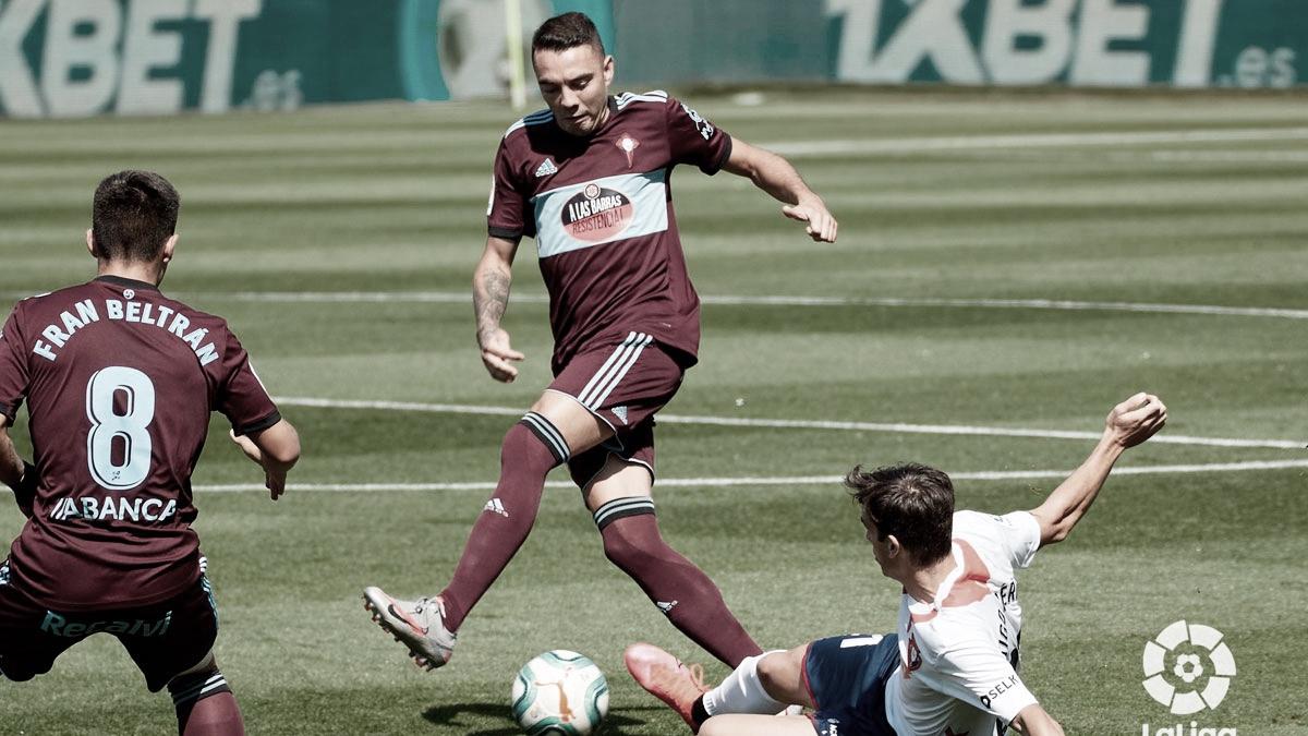 Iago Aspas disputando un balón en el CA Osasuna - RC Celta de la temporada pasada / Foto: rccelta.es