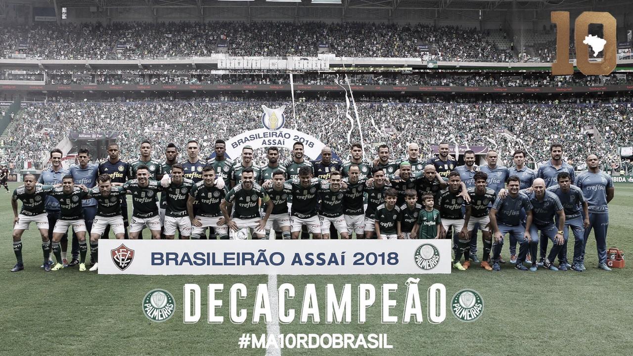 Palmeiras bate Vitória e comemora conquista do Campeonato Brasileiro
