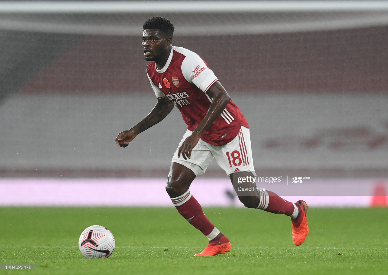 Arsenal v Aston Villa - Premier League<br>LONDON, ENGLAND - NOVEMBER 08: Thomas Partey of Arsenal during the Premier League match between Arsenal and Aston Villa at Emirates Stadium on November 08, 2020 in London, England. (Photo by David Price/Arsenal FC via Getty Images)