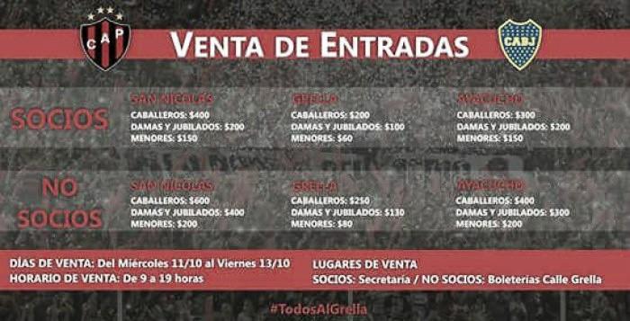 Venta de entradas para Patronato-Boca