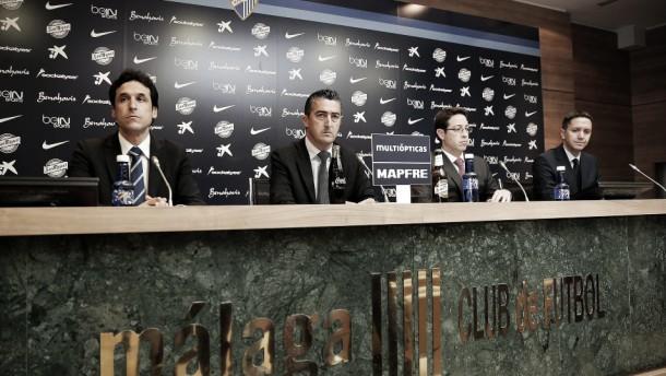 El equipo de asesores del Málaga CF compareció ante los medios