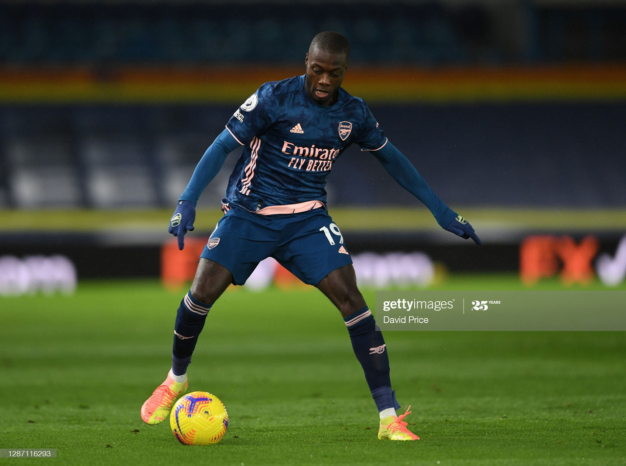 LEEDS, ENGLAND - NOVEMBER 22: Nicolas Pepe of Arsenal during the Premier League match between Leeds United and Arsenal at Elland Road on November 22, 2020 in Leeds, England. (Photo by David Price/Arsenal FC via Getty Images)
