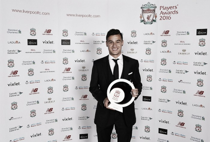 Philippe Coutinho wins quartet of accolades at Liverpool Players' Awards for second straight year
