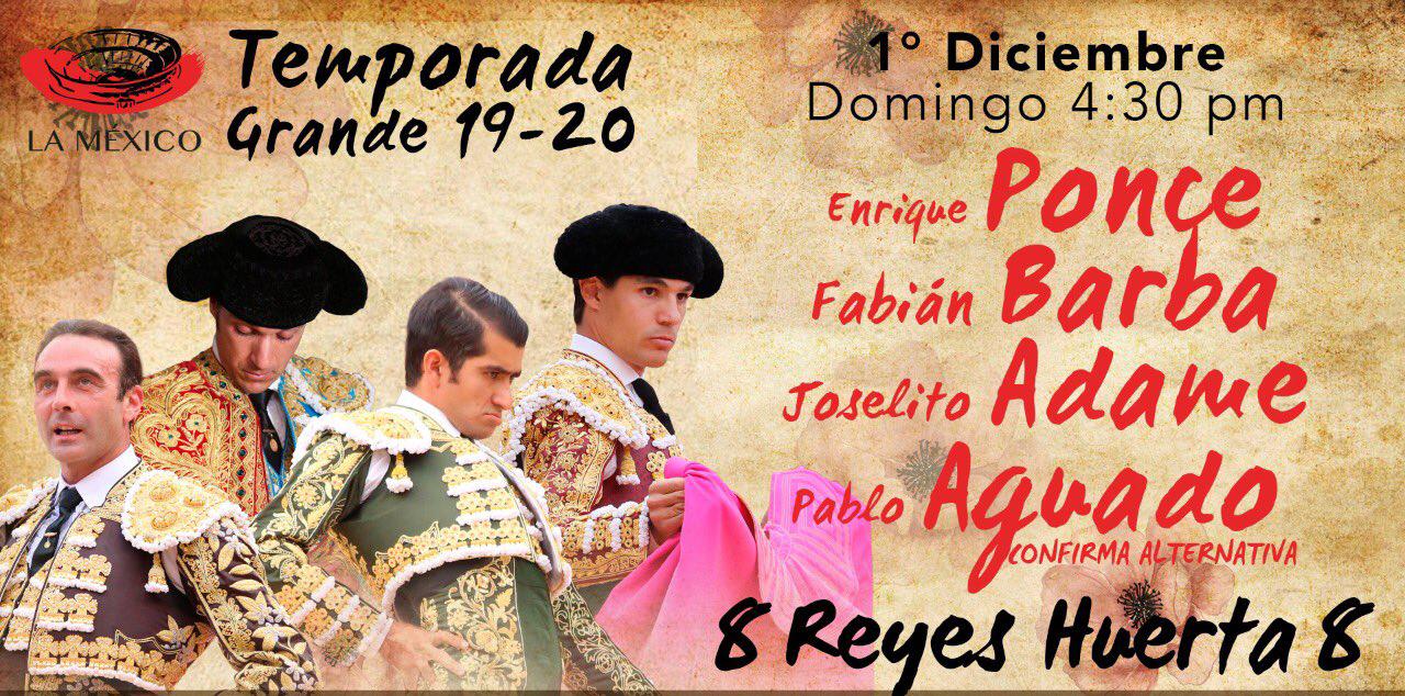 Enrique Ponce, Fabián Barba, Joselito Adame y Pablo Aguado EN VIVO corrida toros en Plaza México