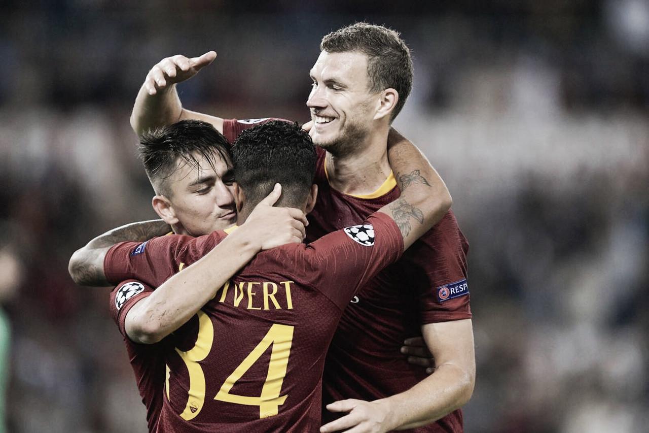 Com brilho de Dzeko, Roma confirma favoritismo e atropela Viktoria Plzen