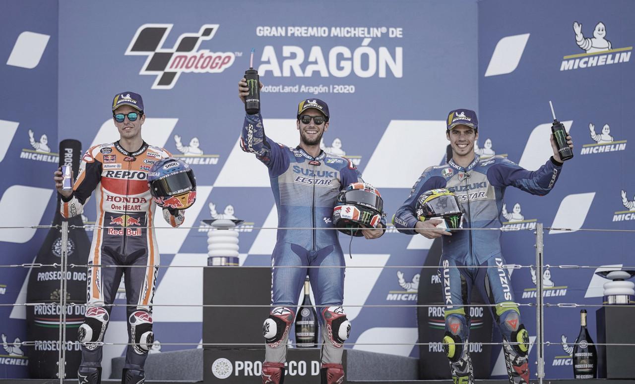 Álex Rins, Àlex Márquez y Joan Mir en el GP de Aragón / Foto: suzuki-motogp.com